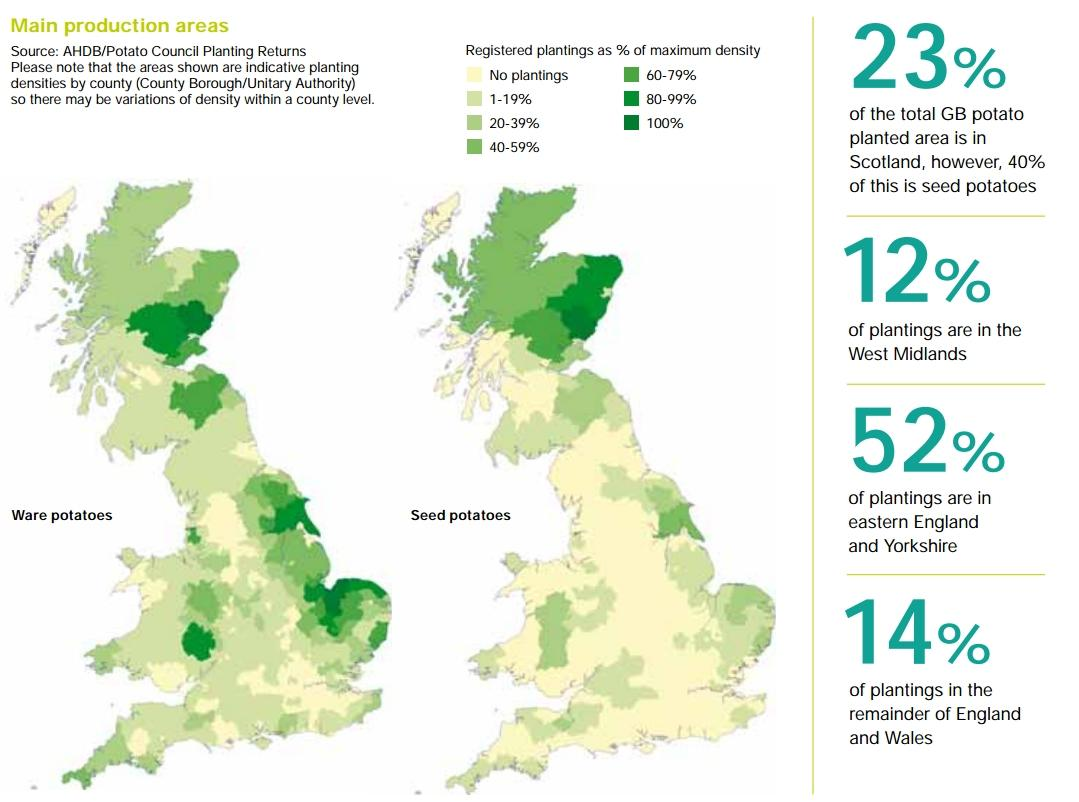 Geographic Distribution Of Potato Cultivation Ware Seed In Great Britain Source Potato Council