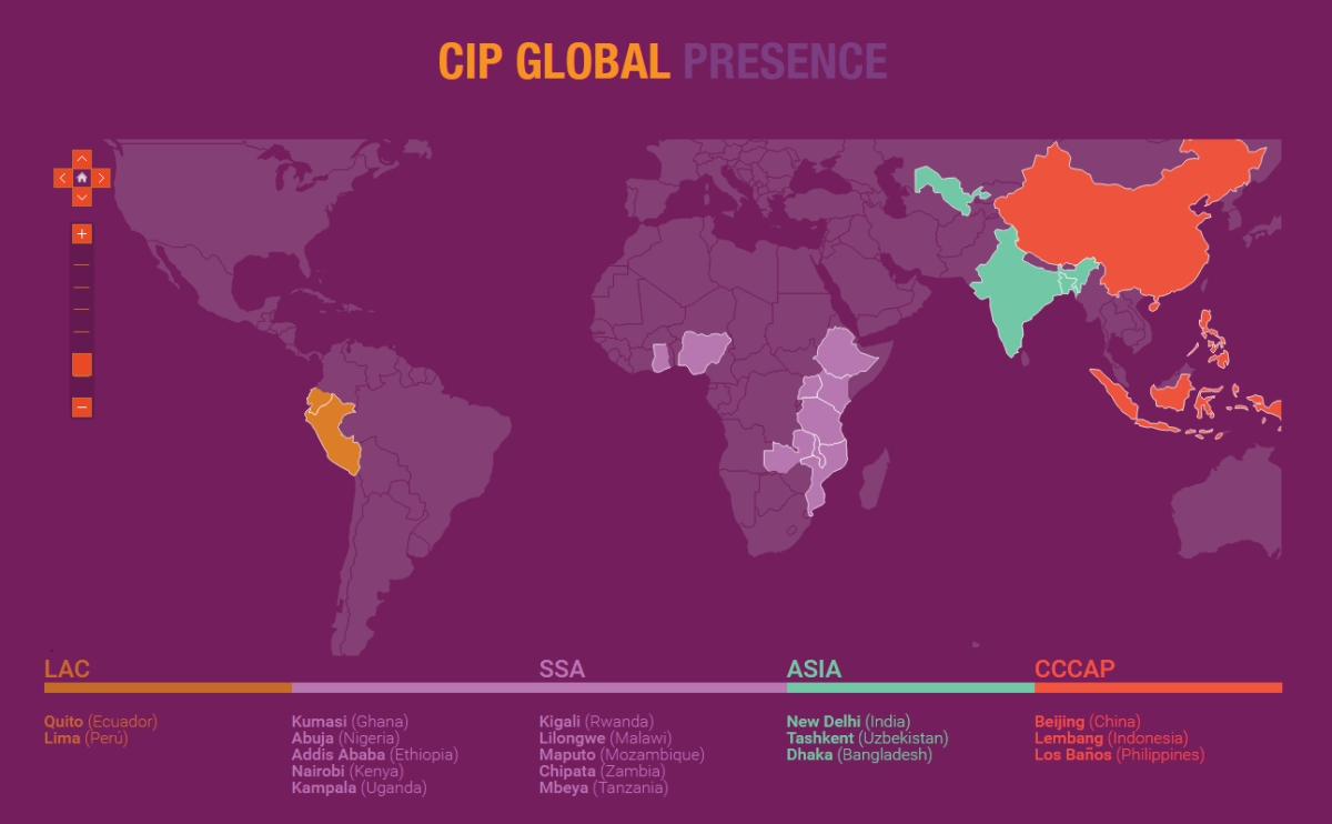 Worldmap with countries marked where CIP has a presence