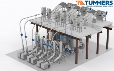 Tummers hydro cutting line for potatoes, fruits & vegetables